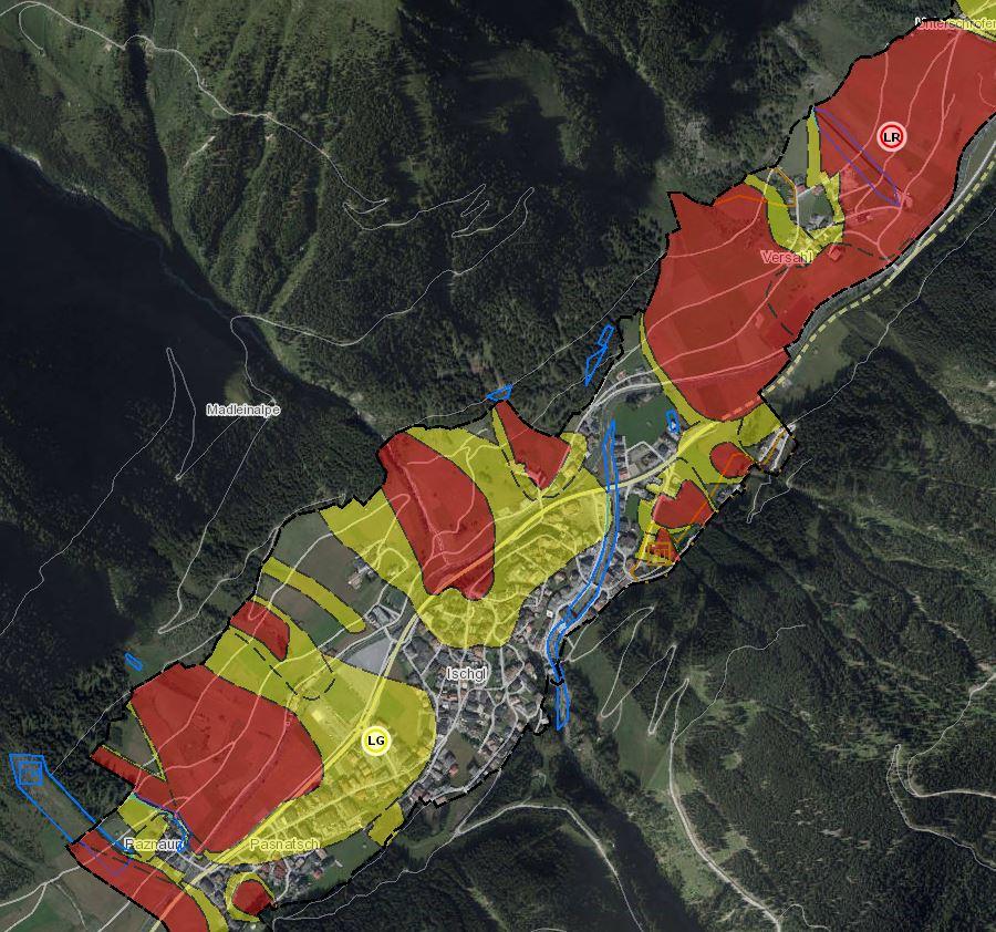 TIRIS Raumordnung Naturgefahren Lawine Gefahrenzonenplan
