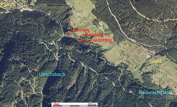 Radurschl Orthofoto - Karte © BEV/tiris/ASI-Tirol