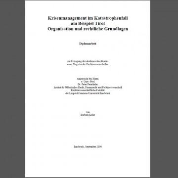 """Krisenmanagement im Katastrophenfall"" – Mag. Barbara Koler"