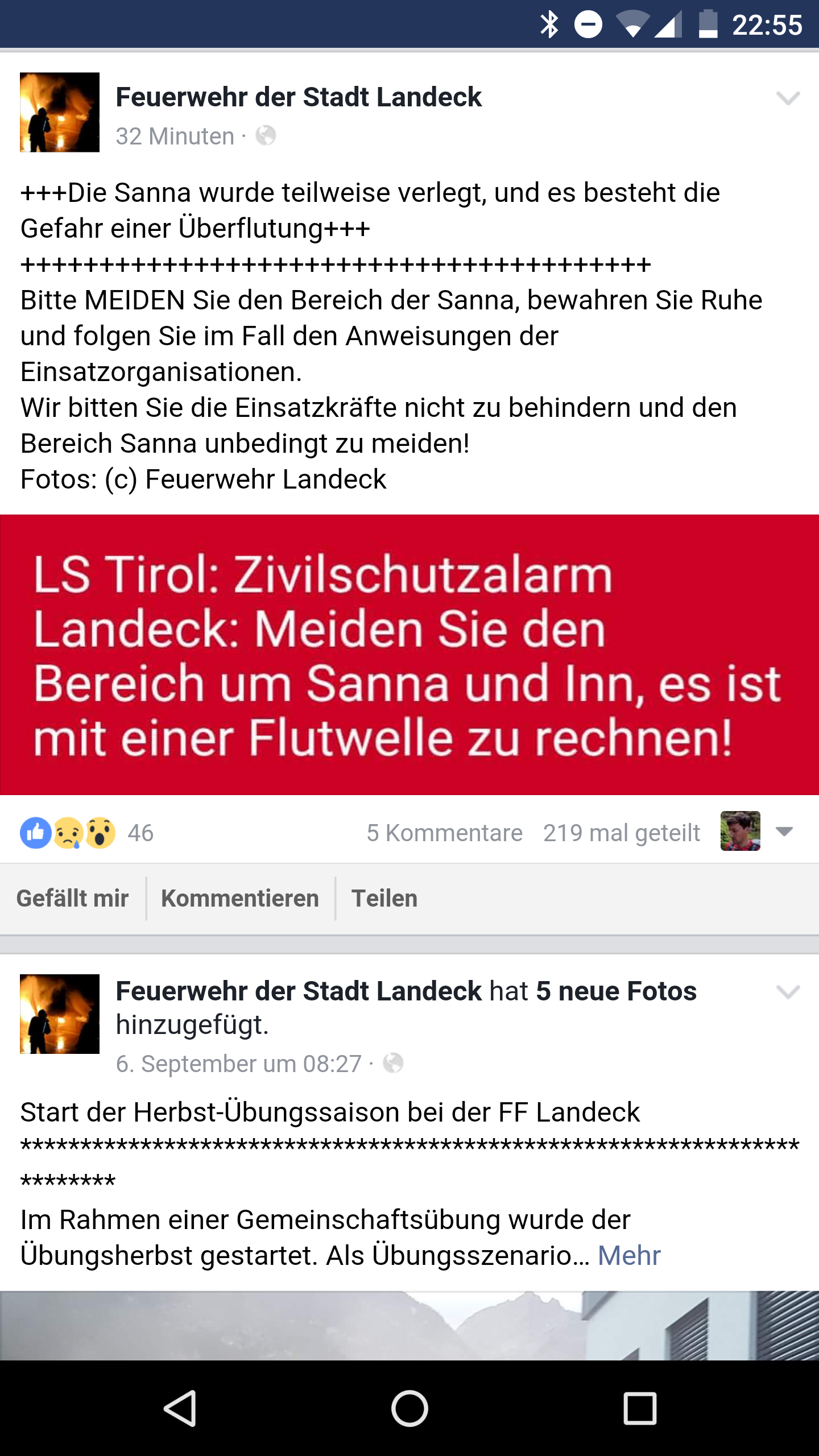 Facebookinfo Feuerwehr LandeckFacebookinfo Feuerwehr Landeck