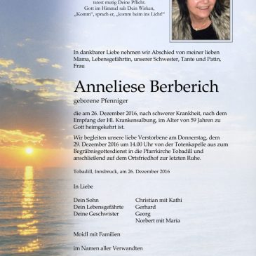 Wir trauern um Annelies Berberich