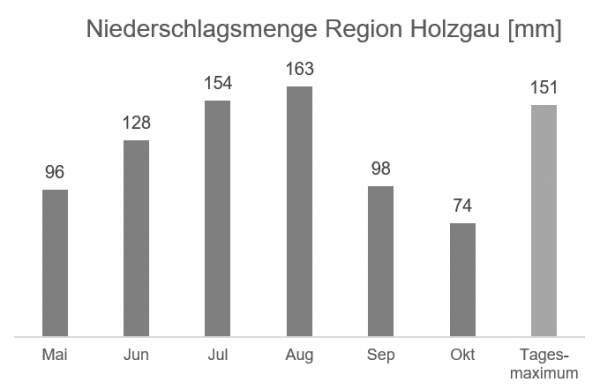 Regionale Wetterinformation - Niederschlag Region Holzgau in mm