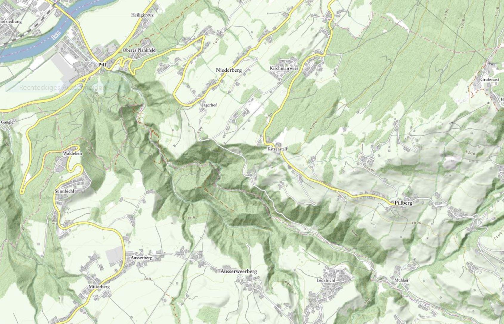 Weerbergcanyon topografische Karte © tiris/ASI-Tirol
